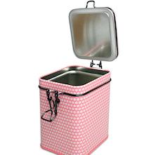 Boîte à thé rose avec clapet de fermeture