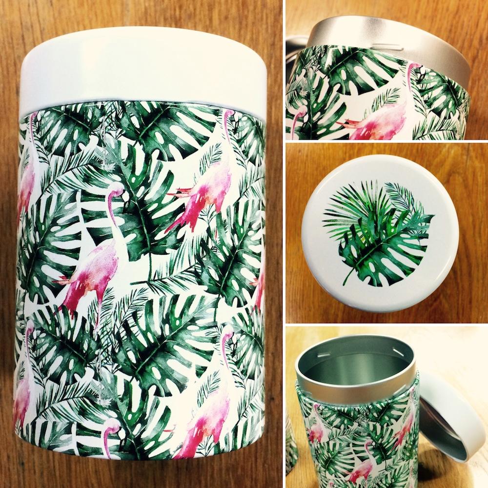 Boîte à thé style jungle verte
