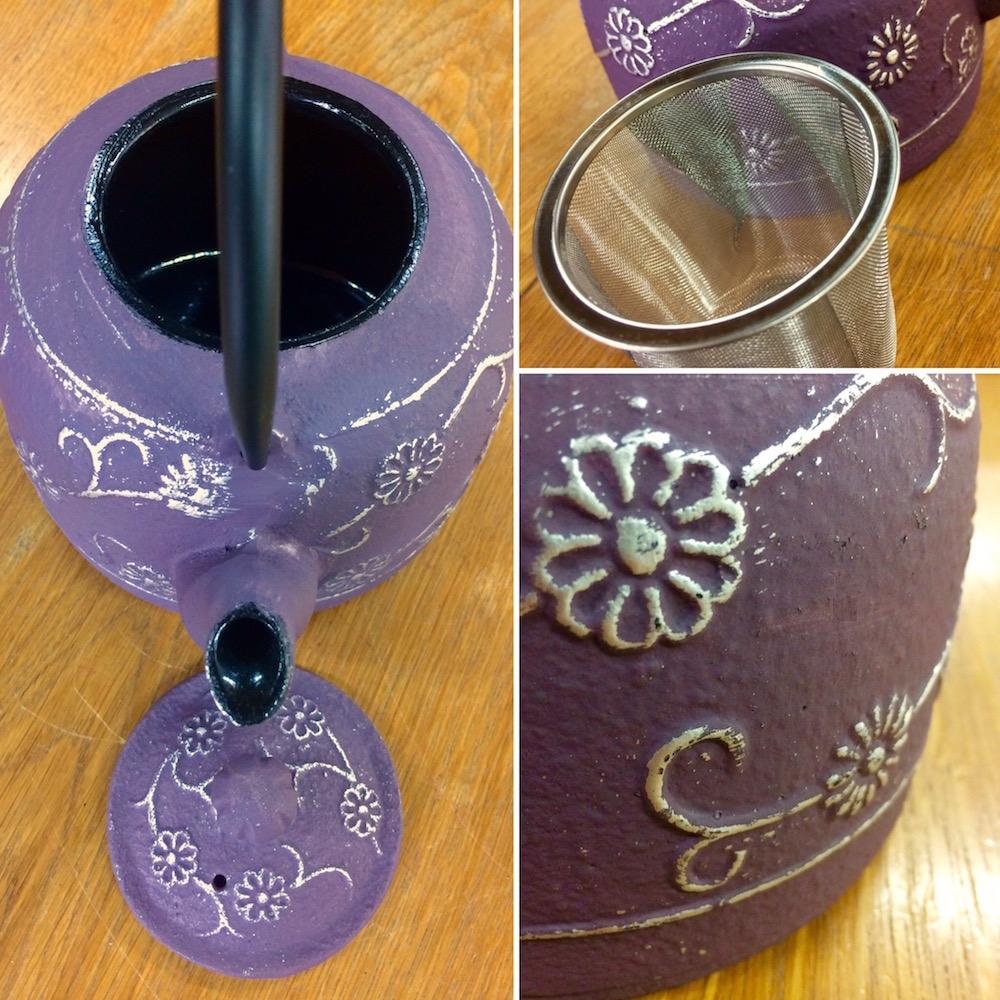 Théière en fonte couleur lila violette