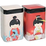 "Duo de boîtes ""Little Geisha"" 100g- gris/rouge"