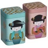 "Duo de boîtes ""Geisha"" 100g- rose/bleu"