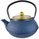 Théière en fonte Shantou bleue et or