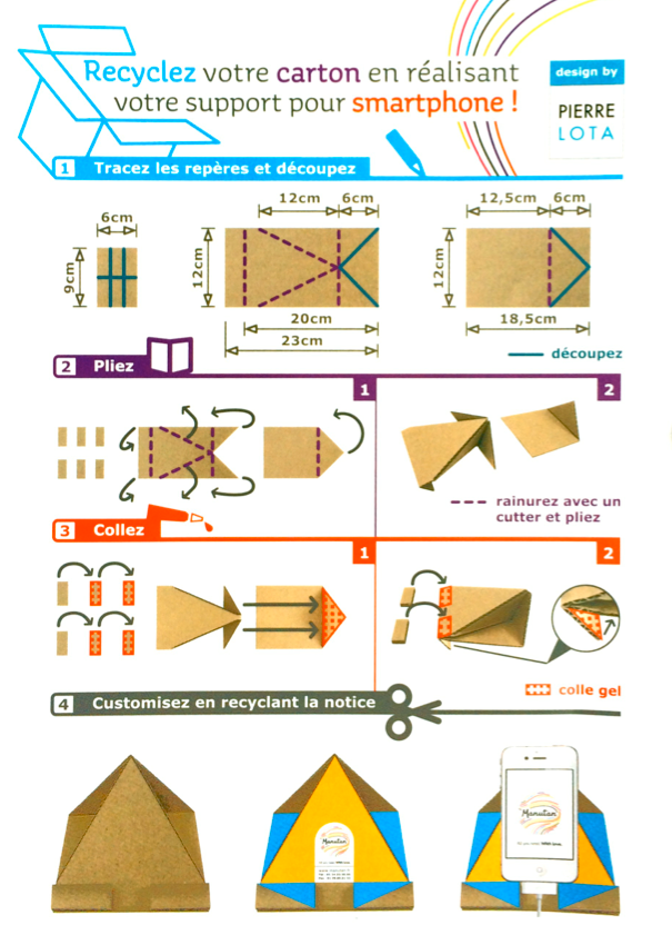recyclez vos cartons pour en faire des supports smartphone au paradis du th. Black Bedroom Furniture Sets. Home Design Ideas