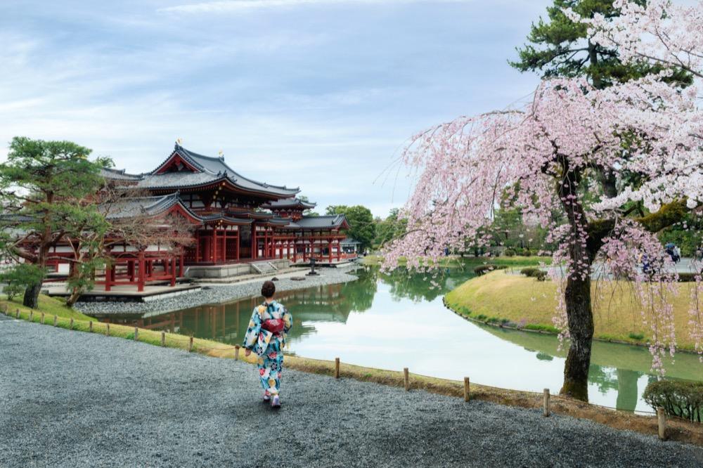 Femme avec kimonod evant le template temple byodo-in à uji de kyoto