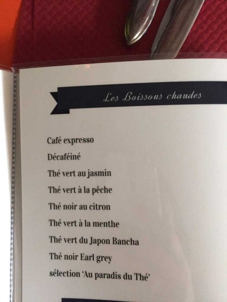 Thé à la carte d'un restaurant