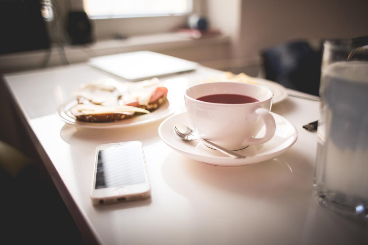 Petit déjeuner thé à jeun
