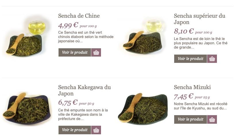 sélection de thés sencha